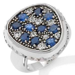 Blue Sapphire and White Topaz Sterling Silver Cluster Ring