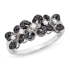 48ct Black and White Diamond 14K White Gold Floral Ring