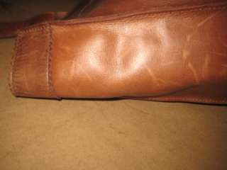 CREW Distressed Brown Tan Leather Front Pocket Tote Shopper Simple