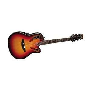String Acoustic Electric Guitar with Hardshell Case, New England Burst