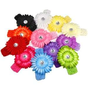 A Dozen of Assorted Colors Daisy Flower Clip Crocheted Baby