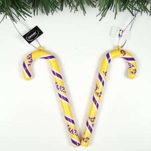 L.A. LAKERS CANDY CANE CHRISTMAS ORNAMENTS SET (6) Sports
