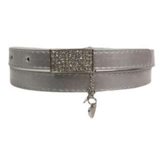 Silver Thin Metallic Belt W/Rhinestone Buckle Clothing