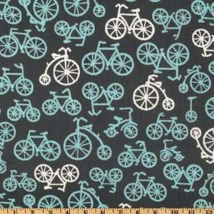 Boy Thing Bicycles Grey Fabric By The Yard Arts, Crafts & Sewing