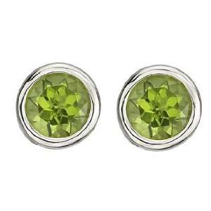 Everlasting Bezel Set Green Peridot Birthstone Stud Earrings Jewelry