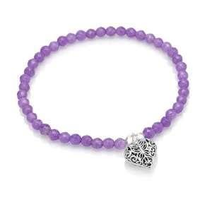 Butterfly Charm Purple Jade Stone Beads Stretch Bracelet Jewelry