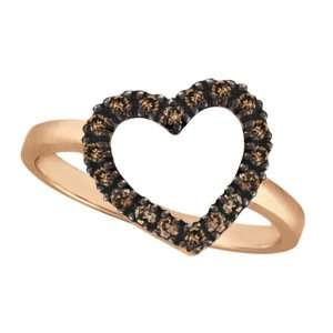 Champagne Cognac Diamond Heart Shaped Ring 14k Rose Gold