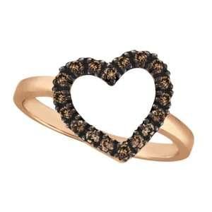 Champagne Cognac Diamond Heart Shaped Ring 14k Rose Gold