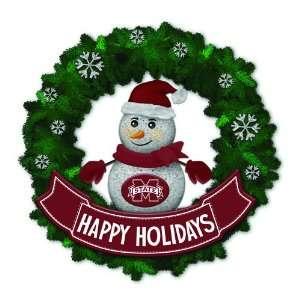 Bulldogs Lighted Snowman Artificial Christmas Wreath
