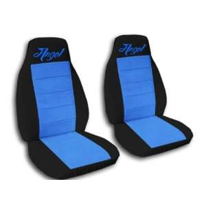 black and light blue Angel car seat covers for a 2003 Mini Cooper