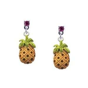Pineapple Hot Pink Swarovski Post Charm Earrings Arts