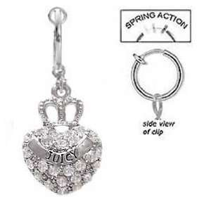 clear Cz Paved Crown on Heart says juicy Dangle Ring Jewelry
