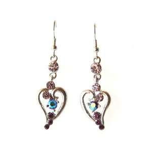 Flourish Heart Dangle Drop Crystal Rhinestone Earrings Jewelry