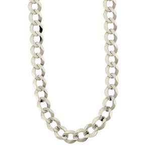 Mens 14k White Gold 7mm Cuban Chain Necklace, 20 Jewelry