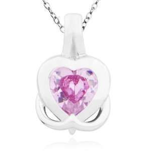 Plated Sterling Silver Pink Cubic Zirconia Heart Pendant, 18 Jewelry