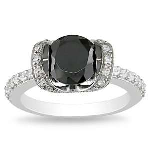 Sterling Silver 3 1/2 CT TGW Round Black Cubic Zirconia White Cubic