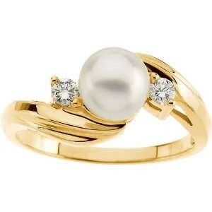 karat yellow gold Akoya Cultured Pearl Ring Diamond Designs Jewelry