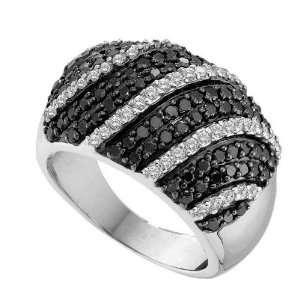 14K White Gold Pave Set Black and White Round Diamonds Fashion Wedding