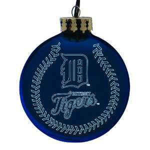Pack of 2 MLB Detroit Tigers Glass Ball Christmas