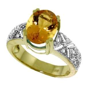 Antique Style Genuine Oval Citrine & Diamond 14k Gold Ring Jewelry