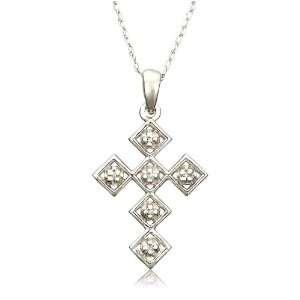 Gold Diamond Cross Pendant (.02 cttw, I J Color, I3 Clarity) Jewelry