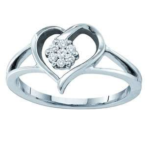 1/10 Diamond 10K White Gold Heart & Flower Ring