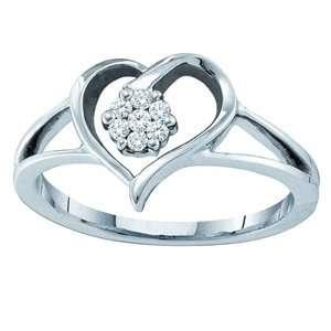 1/10 Diamond 10K White Gold Heart & Flower Ring