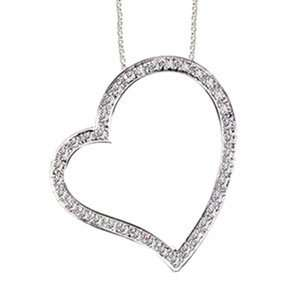 Carat Diamond 14k White Gold Large Heart Pendant/Necklace Jewelry
