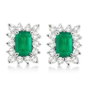 Emerald Cut Emerald and Diamond Stud Earrings 14k White