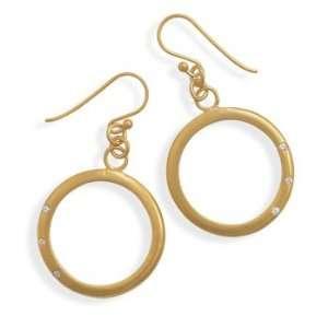 14 Karat Gold Plated Open Circle Drop Earrings