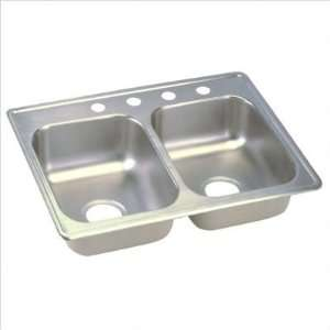 Top Mount Stainless Steel Double Sink with Three Faucet Holes (Set of