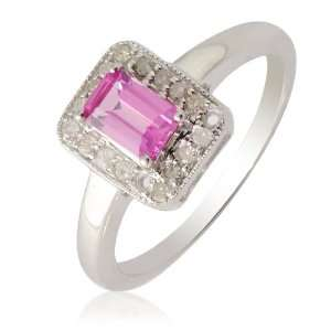 ) & Emerald Cut Pink Sapphire Fashion Ring in 14K White Gold.size 8