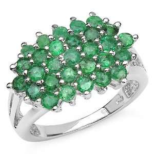 2.05 Carat Genuine Emerald Sterling Silver Ring Jewelry