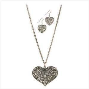 Lace Heart Fashion Jewelry Set Earrings Necklace
