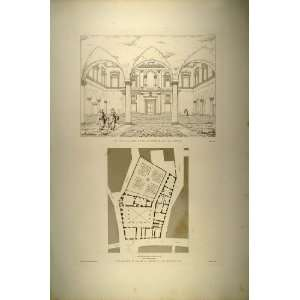 1860 Engraving Palazzo di Firenze Floor Plan Court Rome