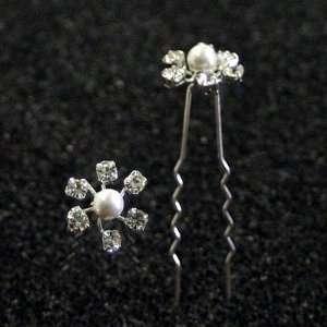 Crystal Flower Design Hair Pins Sticks [PACK OF 6]