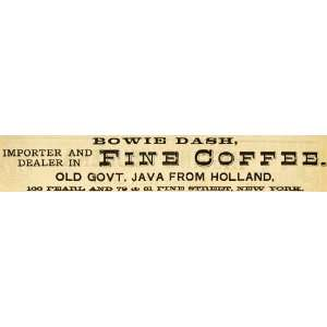 1883 Ad Bowie Dash Coffee Java Beverage Food Grocery