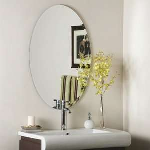 Oval Beveled Frameless Wall Mirror, Etched Glass