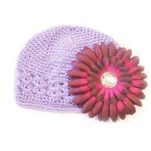 Fits 0   9 Months With a 4 Burgundy Gerbera Daisy Flower Hair Clip