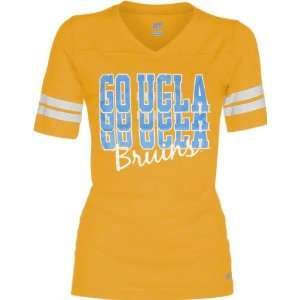 UCLA Bruins Womens Gold Football Jersey T Shirt Sports