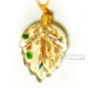 DICHROIC GLASS GOLD/YELLOW LEAF PENDANT NECKLACE 19 Arts