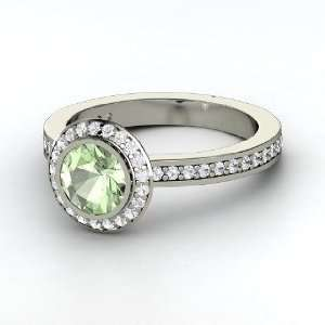 Roxanne Ring, Round Green Amethyst 14K White Gold Ring