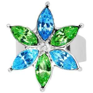 Blue Green Marquise Flower Adjustable Ring Jewelry