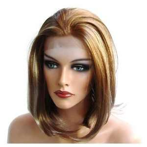 HANDSEWN SYNTHETIC FRENCH LACE FRONT FULL HAIR WIG Color Light Brown