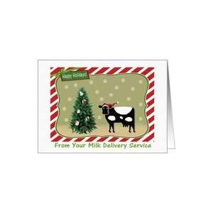 Milk Delivery, Happy Holidays, Cow with Milk Tree Card