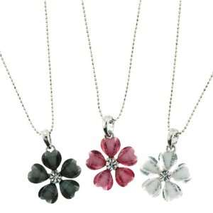 Resin Flower Pendant Necklaces   Black, White, Pink   5 Heart Shaped
