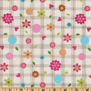 44 Wide Hugs & Kisses Plaid Pink/Turquoise/Cream Fabric