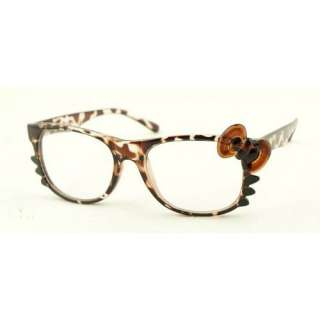 Hello Kitty Leopard Print Bow Tie Clear Lens Glasses