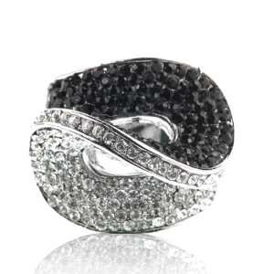 Inspired Jet Black & Crystal Ring Size 6 Fashion Jewelry Jewelry
