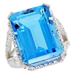 White Gold ( 18x13 mm ) Large Stone Engagement Swiss Blue Topaz Ring